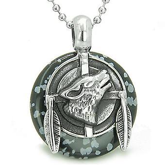 Amulette Howling Wolf médaillon Protection pouvoirs Snowflake Obsidian Donut Lucky collier de plumes