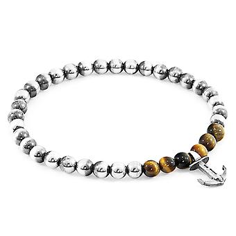 Anchor & Crew Brown Tigers Eye Keel Silver and Stone Bracelet