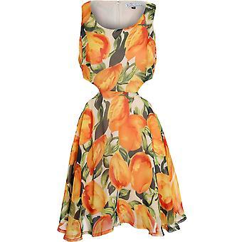 Damene Floral dyr hvit svart Mocca Chiffon Side og tilbake Cutout sommer kjole