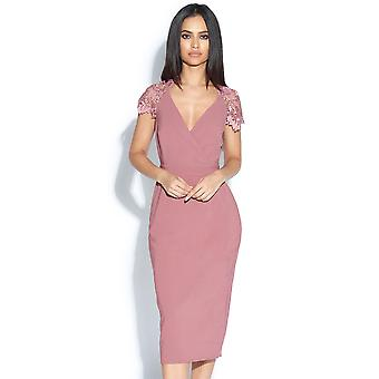 Pink Crochet Sleeved and Back Bodycon Dress