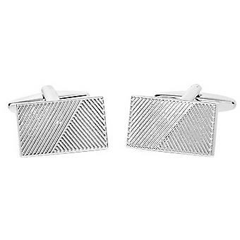 David Van Hagen glanzende rechthoek gegroefd Design streep Manchetknopen - zilver