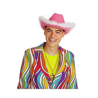 Accesorios para el cabello caliente sombrero de vaquero rosa con marabú blanco