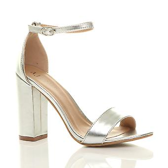 Ajvani damskie blok wysoki obcas kostki pasek peep toe paski sandały buty pompy party