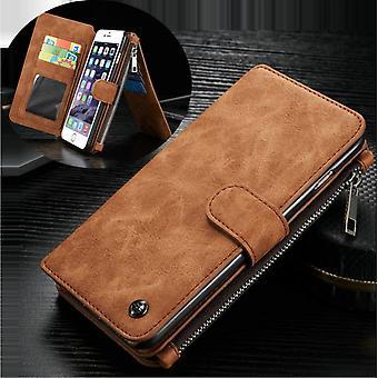 CASEME iPhone 6/6s Custodia con portafoglio in pelle retrò-marrone