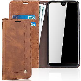 Cell phone cover case voor WIKO bekijken 2 cover Wallet case Brown