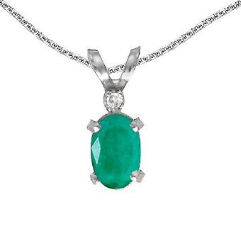 LXR 14k valkoinen kulta soikea smaragdi ja timantti filagree riipus 0,31 ct