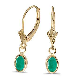 LXR 14k Yellow Gold Oval Emerald Frame Frame Bracket Folding Bracket Ohrri