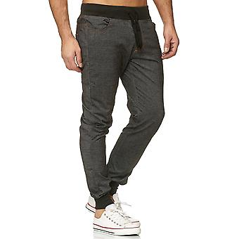 Herren Jogging Hose Jeans Optik Sweat Pants Jogging Denim Slim Fit Casual Sport