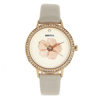 Bertha Delilah Leather-Band Watch - Rose Gold/Grey