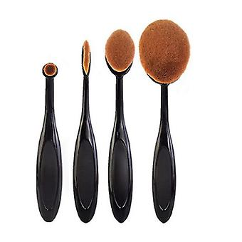 TRIXES Set of 4 Black Luxury Make-Up Brushes for Fine Even Coverage