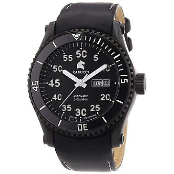 CAPA Watches CA2196BK-WH-men's wristwatch, leather, color: black