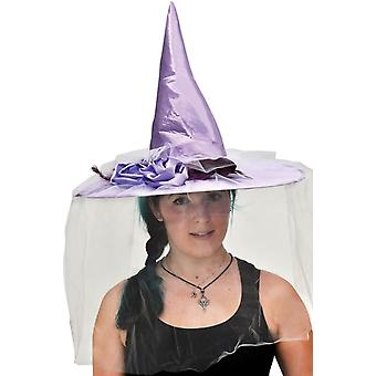Witch Hat Purple Satin W Feath For Adults
