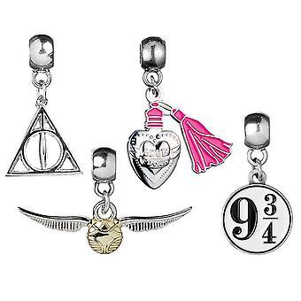 Harry Potter si přívěsný set 1 4 kusy, stříbro, barevný, kov, na pečicí kartu.