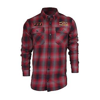 Fox Racing Mens Gorman Flannel LS Overshirt - Dark Red