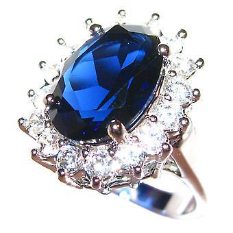 Ring Saphir Königsblau in Rhodium & Lab Diamanten