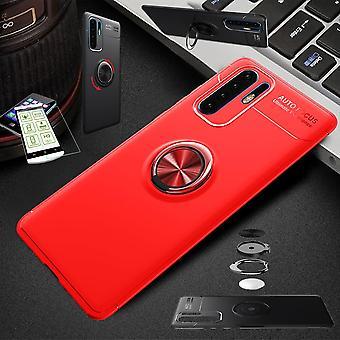 Für Samsung Galaxy A40 5.9 Zoll Ultra dünn Magnet Metall Ring Case Rot + Hartglas Tasche Hülle Cover Hülle