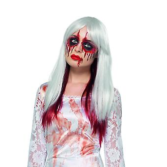Λευκό μακριά μαλλιά περούκα με την προσέγγιση του αίματος Halloween καρναβάλι αξεσουάρ Deluxe σταγόνα αίματος περούκα με ανταύγειες