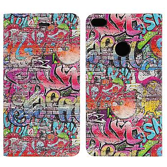 Akashi Huawei P8 Lite 2017 Graffiti Folio Case Video Stand