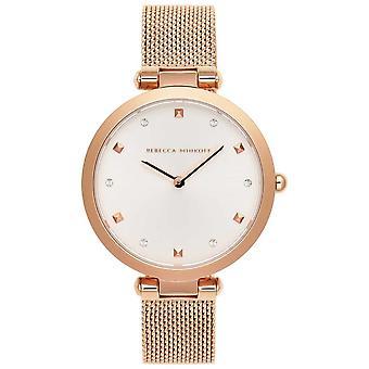 Rebecca Minkoff Womens Nina   Rose Gold Mesh Bracelet   White Dial   2200301 Watch