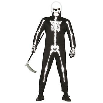 Hommes 'quot;Glow In The Dark'quot; Skeleton Fancy Dress Costume