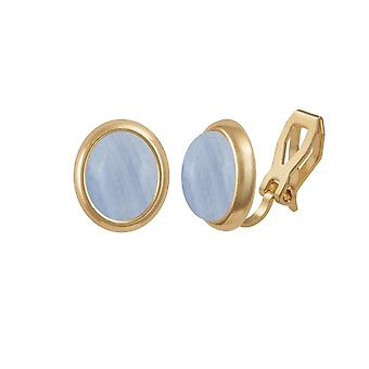 Eternal Collection Minuet Blue Lace Agate Gemstone Gold Clip On Earrings