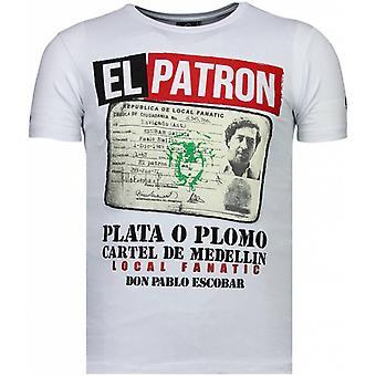 El Patron Narcos Milliardaire-Rhinstone T-shirt-Blanc