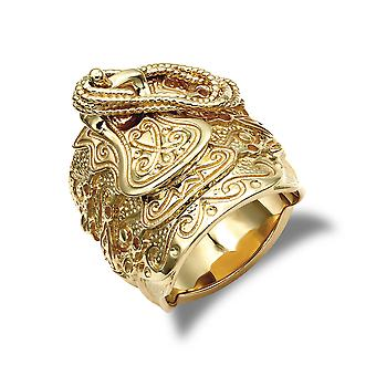 Jewelco London Men's Solid 9ct Yellow Gold Horse Saddle Rope Ring