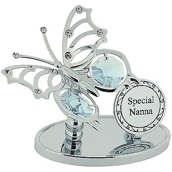 "Crystocraft ""Special Nanna"" Freestanding Chrome Plated Butterfly Ornament Made With Swarovski Crystals"