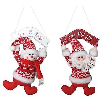 Wellindal Christmas decoration fabric wood hang 2 models