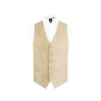 Dobell Boys Gold Paisley Waistcoat Regular Fit Wedding