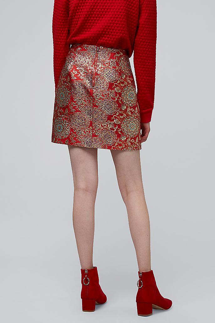 Louche Aubin Jacquard Floral Mini Skirt Red Metallic
