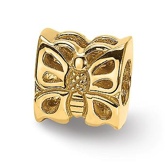 14k Yellow Gold Polished Reflections SimStars Butterfly Angel Wings Bead Charm Pendant Necklace Jewelry Gifts for Women