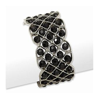 Silver tone Black Crystal Stretch Bracelet Jewelry Gifts for Women
