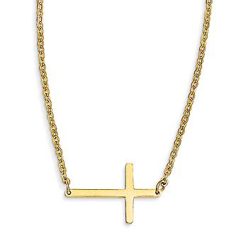 Edelstahl poliert Fancy Hummer Verschluss gelb Ip vergoldet Seitwärts religiösen Glauben Kreuz 18 Zoll Halskette 18 Zoll J