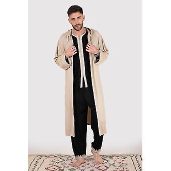 Jabador Faris mannen ' s lange mouw top Hooded vest en broek co-Ord set in beige