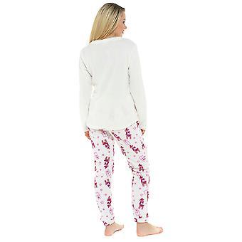 Ladies LLama Embroidered Design Microfleece Long Twosie Sleepwear