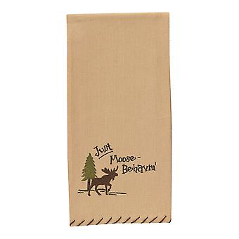 Just Moose-Behavin' Embroidered Moose Lodge Camping Kitchen Dish Towel 28 Inch