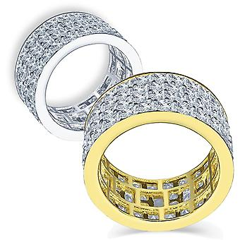 Anillo micro pave de plata Sterling 925 - ROWS INVISIBLES