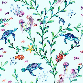 Over the Rainbow Under the Sea Wallpaper Light Teal Holden 90941