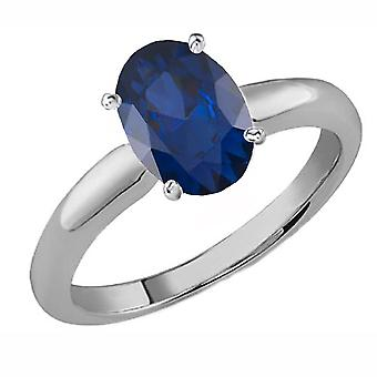 Dazzlingrock Collection Sterling Silver 9x7 MM Oval Cut Blue Sapphire Ladies Solitaire Bridal Engagement Ring