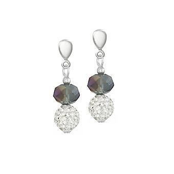 Eternal Collection Majestic Dark Silver Crystal Silver Tone Drop Screw Back Clip On Earrings
