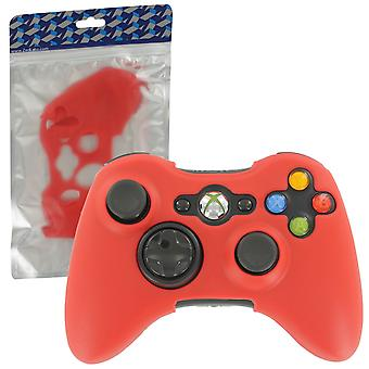 Soft silicone rubber skin grip cover case for microsoft xbox 360 controller - red