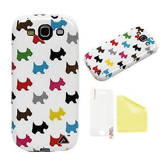 Samsung Galaxy S3 JELLi valp kjærlighet beskyttelse Shell + skjermbeskyttelse