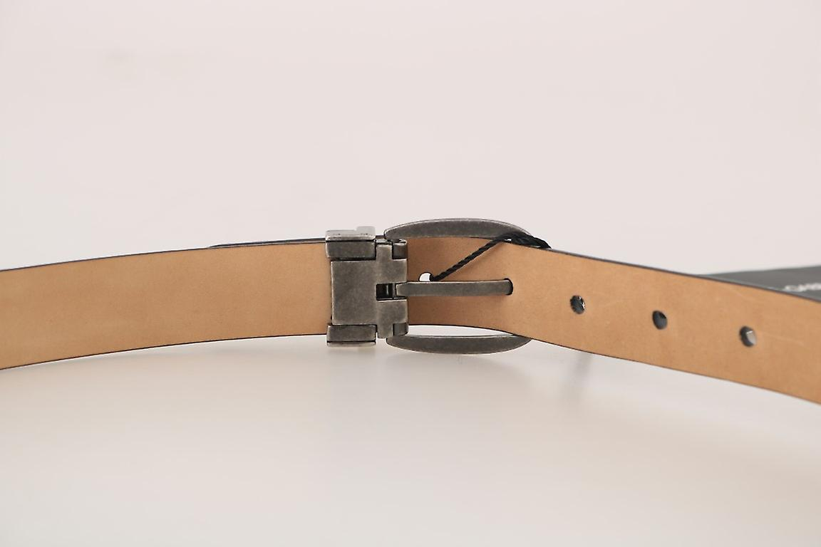 Black Leather Brushed Buckle Mens Belt