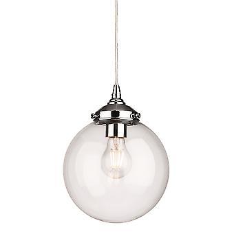 Firstlight Seville 1 Light Globe Pendant Light Chrome with Clear Glass 3726CH