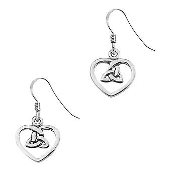 Celtic Holy Trinity Love Heart Shaped Drop Style Pair Of Earrings