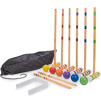 Six-Player Travel Croquet Set with Drawstring Bag