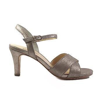 Paul Green 7193-01 Champagne Suede Leather Womens Heeled Strapy Sandals