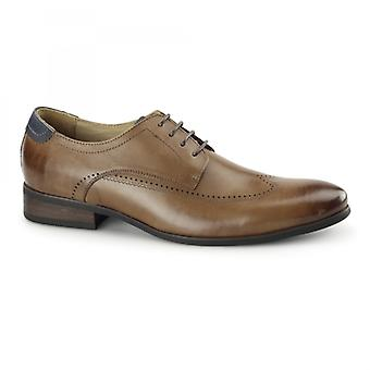 Azor Giorgio Mens Leather Derby Brogues Tan