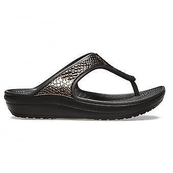 Crocs 205604 Sloane Metaltxt Flip Ladies Platform Flip Flops Gunmetal/black